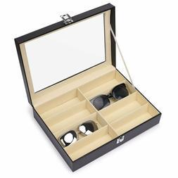 Juns Sunglasses Eyeglass Organizer, 8 Slots Pu Leather Eyewe