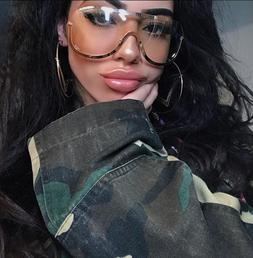 SUNGLASSES OVERSIZED Big Clear Lens FULL MASK SHIELD Eyeglas