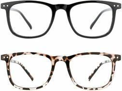 TIJN Blue Light Filter Glasses 2 Pack Square Lightweight Com