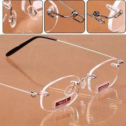 Ultra Light Women Men Frameless Reading Glasses Eyeglasses C