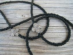 Unisex Men's Matte Black Silver Cross Beads Eyeglass Chain H