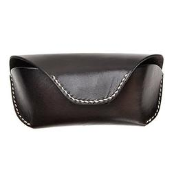 Unisex Semi Hard Genuine Leather Eyeglass Case With Belt Loo