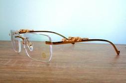 Vintage Eyeglasses Frame Gold Rimless Panther Head For Men M