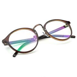 PenSee Vintage Inspired Eyeglasses Frame Round Circle Clear