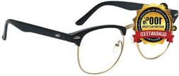 Outray Vintage Retro Classic Half Frame Horn Rimmed Clear Le