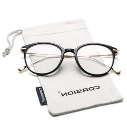 COASION Vintage Round Clear Glasses Non-Prescription Eyeglas