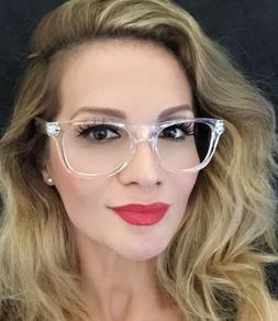 White Crystal Clear Translucent Square Celebrity Diva Frames