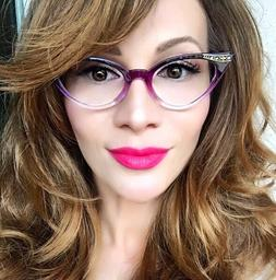 Women Cat Eye Purple Violet Clear Gradient Ombre Crystals Ey