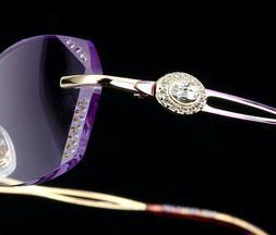 Women Eyeglasses Diamond Titanium Trimmed Rimless Ladies Fas