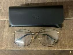 TIJN Women's Eyeglasses Glasses Frames Black/Rose Gold w/ Ca