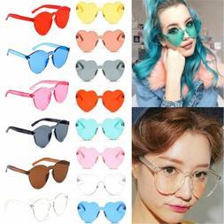 Women Tint Rimless Frame Heart Sunglasses Sun Glasses Clear