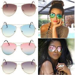 Women Vintage Aviator Mirror Lens Goggles Sunglasses Sport E