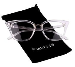 Beison Womens Cat Eye Mod Fashion Eyeglasses Frame Clear Len