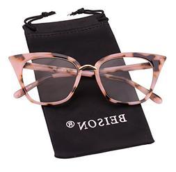 Beison Womens Cat Eye Mod Fashion Eyeglasses Frame Clear Len