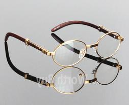 Womens Men Retro Vintage Clear Lens Gold Wood Frame Fashion