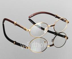 Womens Men Retro Vintage Clear Lens Yellow Gold Wood Frame F