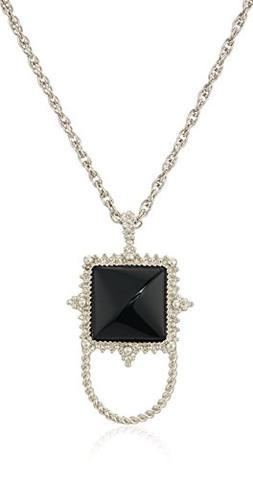 1928 Jewelry Womens Silver-Tone Semi-Precious Onyx Square Ey