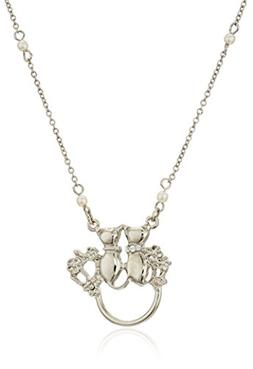 1928 Jewelry Womens Silver-Tone Simulated Pearl Chain Double
