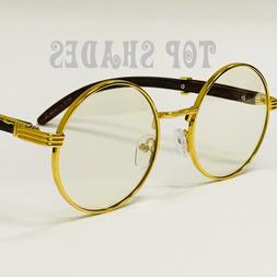 Wood Temple Buffs Migos glasses Round Gold Frame Clear Lens