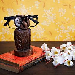 Wooden Owl Eyeglass Spectacle Holder Handmade Stand for Offi